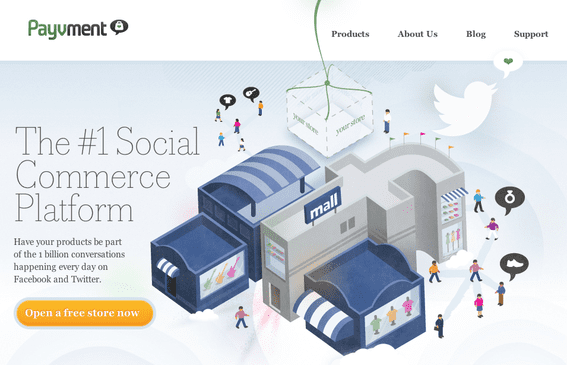 Payvment offers a social commerce marketplace, on Facebook.
