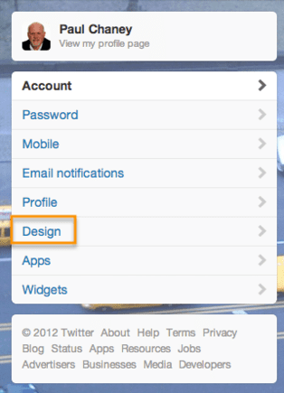 """Click """"Design"""" from the menu in the left-hand column."""
