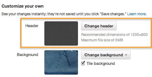 """Scroll to """"Customize your own"""" and click """"change header."""""""