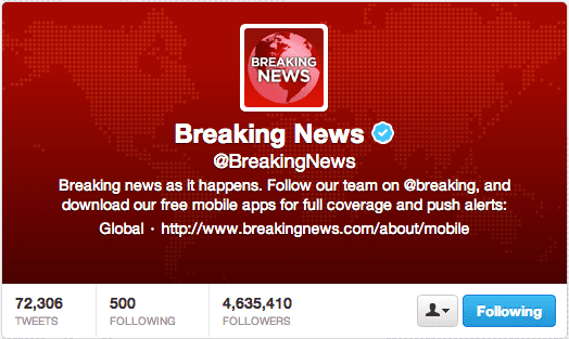Breaking News matches the header and profile image.