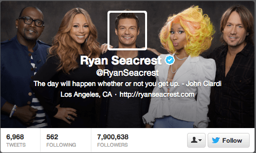 TV personality Ryan Seacrest creatively blends his profile image with the header.