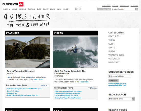 Quiksilver's blog is rich with video content.