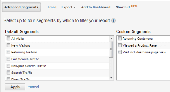 """Select up to four segments and click """"Apply."""" These segments will then be applied to all reports until you re-open the window and deselect them."""
