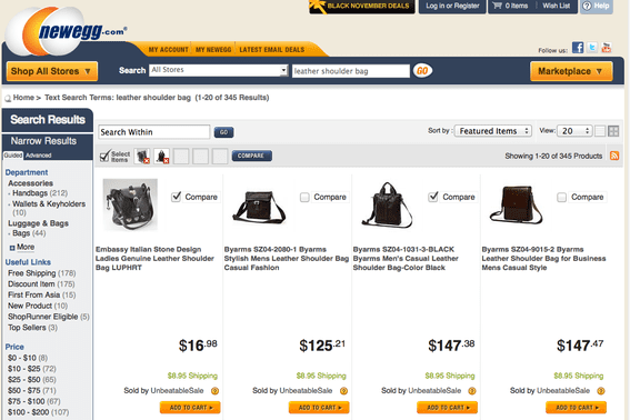 "Newegg search results for ""leather shoulder bag."""