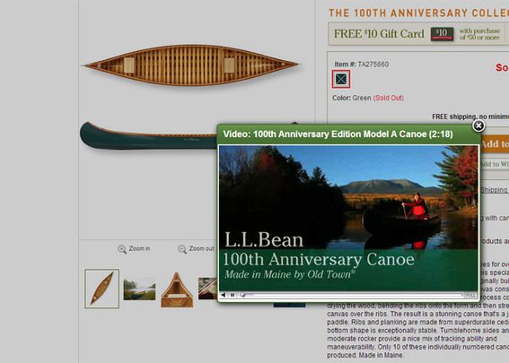 L.L.Bean using high quality product videos to help sell key products.