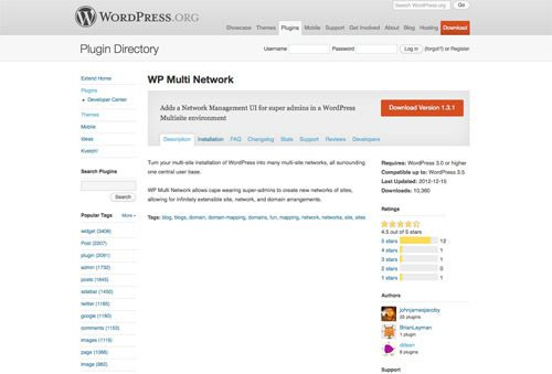 WP Multi Network Plugin on WordPress.