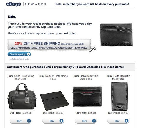 eBags personalizes its emails with customer names and exclusive offers.