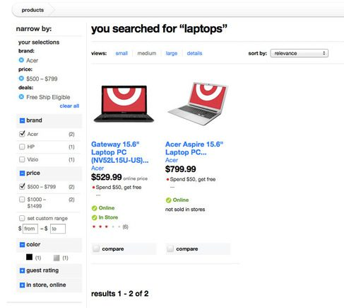 Target uses a guided search to help personalize its site.