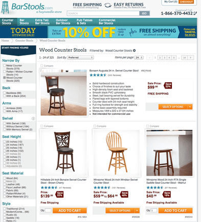 BarStools.com uses an orange isolation color to guide site visitors.