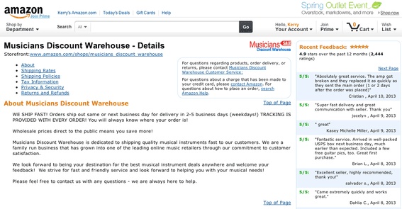 Detailed seller information for Musicians Discount Warehouse, which sells musical instruments on Amazon.