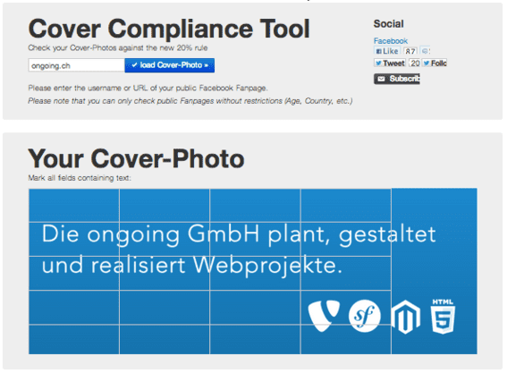 Facebook cover compliance tool.