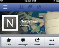 Cover images are partially obstructed in the mobile app, such as in this example from Nordstrom.