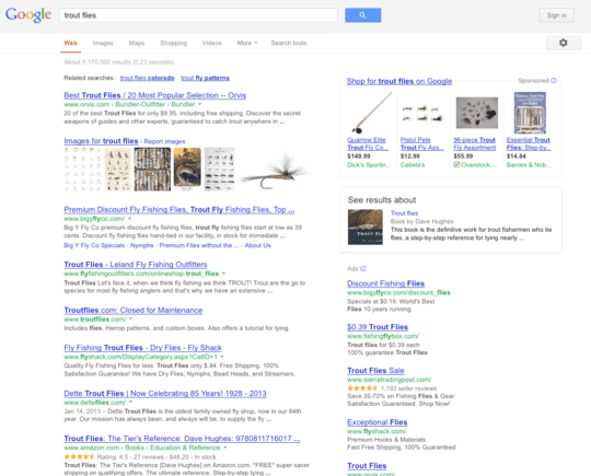 """Trout flies"" search results example."
