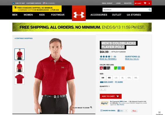 """""""Men's Coldblack® Player Polo"""" product detail page, at UnderArmour.com."""