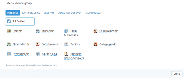 Audience comparison categories within Twitter Analytics.