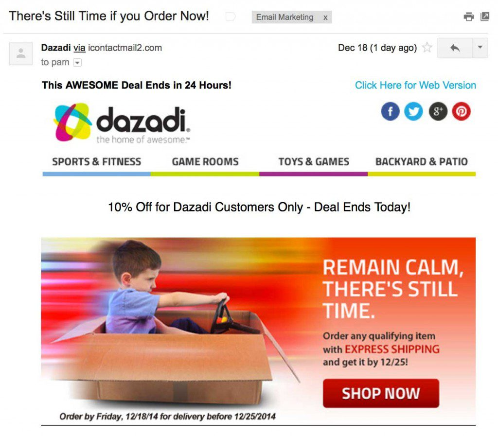 """An example of a two-word call to action: """"Shop Now."""""""