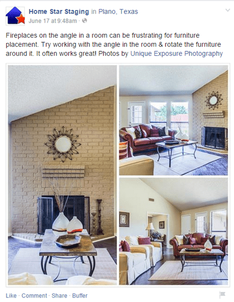 Home staging advice Facebook post.