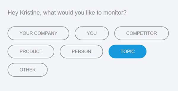 Choose the type of keyword to watch with Mention.com.