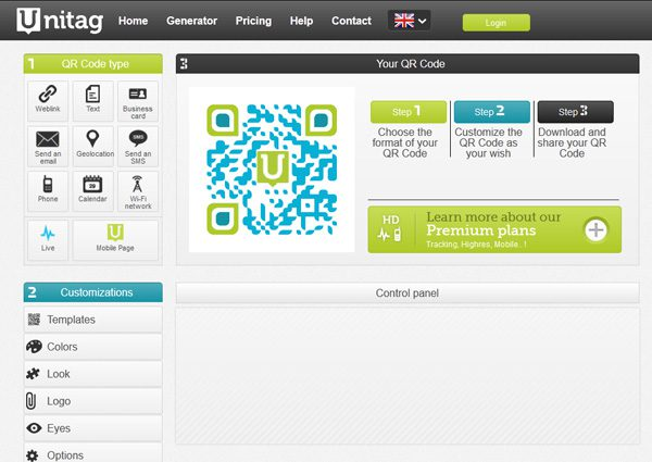 Unitag offers online QR code generation and customization.