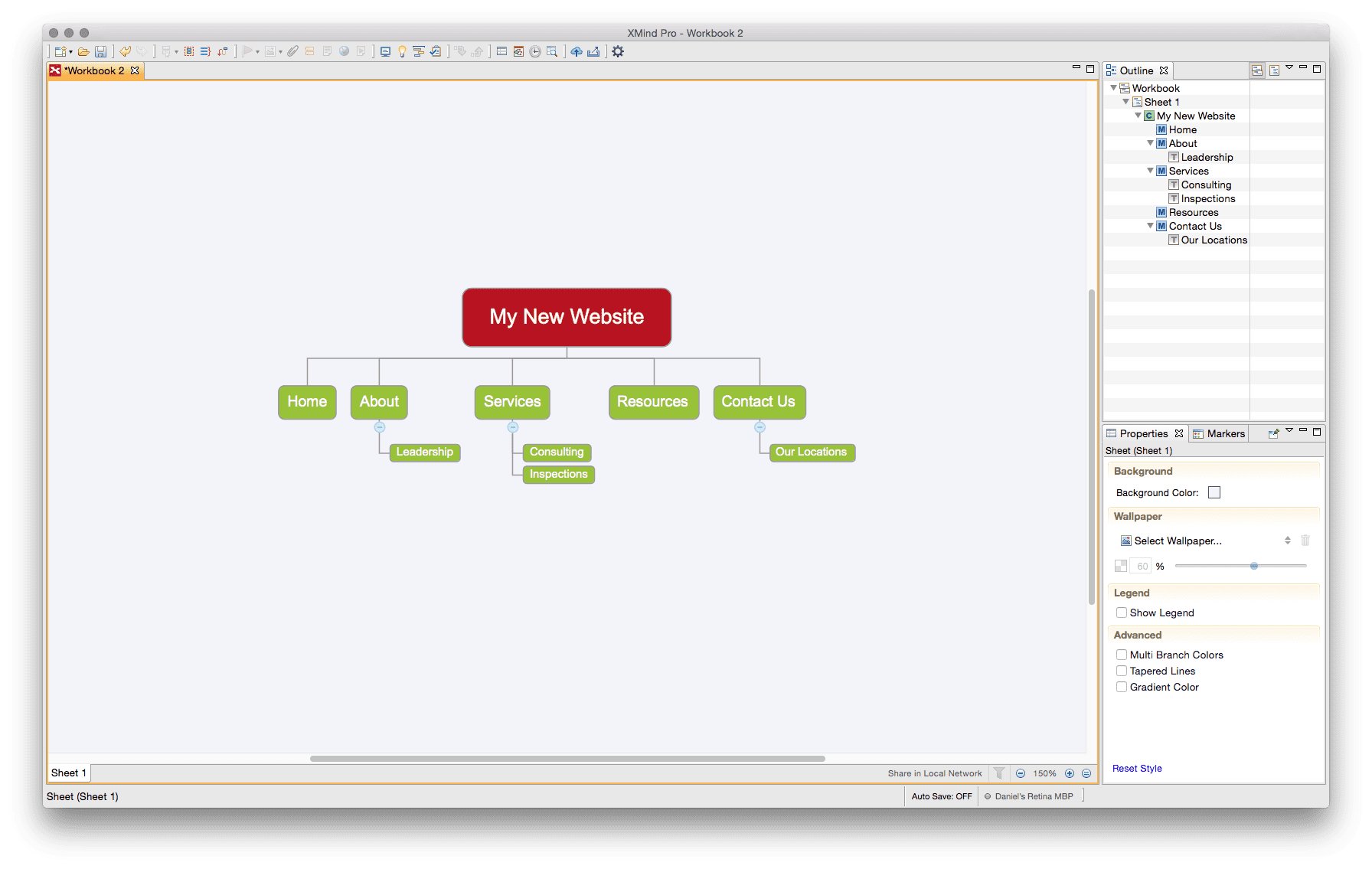 XMind can be an useful tool for building your sitemap.