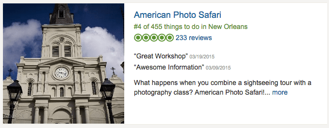 American Photo Safari ranks fourth out of 455 things to do.