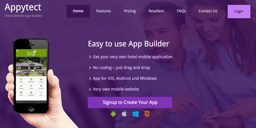 Drag-and-drop mobile app builder for hotels.