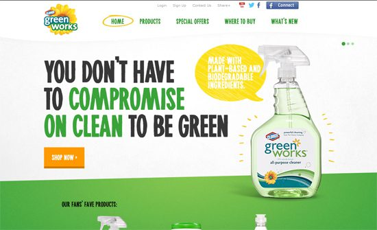 Clorox uses green to promote its organic cleaning products.