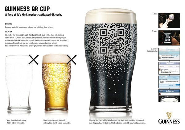 The QR code on the beer glass only shows up when the glass is filled with dark Guinness beer.