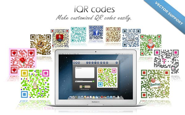 The iQR codes app for OS X lets you create and customize QR codes.