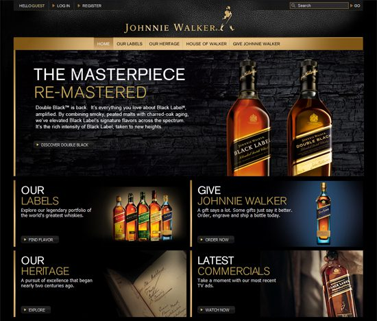 Johnnie Walker uses black and gold on its site to portray elegance.