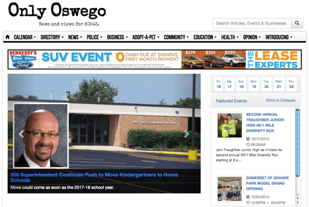 """Only Oswego"" serves the 60543 area code in Oswego, N.Y."