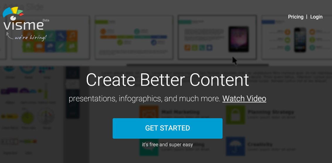 Visme: Create infographics, reports, and presentations.