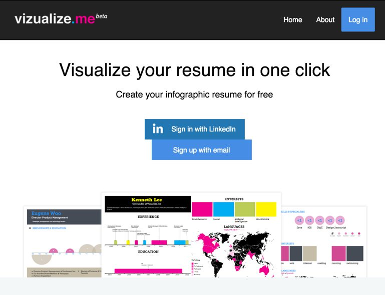 Visualize.me: Infographic tool to illustrate your resume.